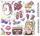colorful retro collection... | Shutterstock .eps vector #1045307434