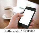 man using smartphone  close up  ... | Shutterstock . vector #104530886
