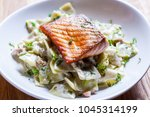 pasta with roasted salmon in ... | Shutterstock . vector #1045314199