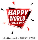 happy world press day  sign... | Shutterstock .eps vector #1045314700