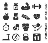 health and fitness icons.... | Shutterstock .eps vector #1045318039