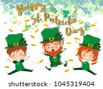 happy saint patrick's day... | Shutterstock .eps vector #1045319404