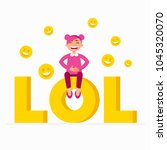 lol icon as a laugh out loud... | Shutterstock .eps vector #1045320070