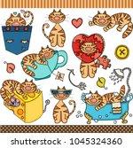 cute cat set digital elements  | Shutterstock .eps vector #1045324360
