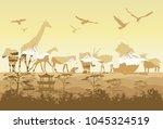 double exposure  wild animals...   Shutterstock . vector #1045324519