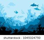ocean underwater world with... | Shutterstock . vector #1045324750