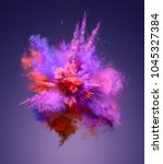 explosion of colorful dust.... | Shutterstock . vector #1045327384