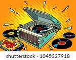pop music  vinyl records and... | Shutterstock .eps vector #1045327918