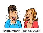 joyful girlfriends women laugh... | Shutterstock .eps vector #1045327930