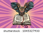 owl on an old book  a symbol of ... | Shutterstock .eps vector #1045327933