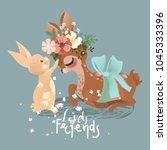 cute deer and little baby bunny ... | Shutterstock .eps vector #1045333396