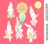 cute ballerina bunny princess... | Shutterstock .eps vector #1045333399