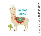 Cute Cartoon Llama Vector...