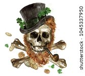 leprechaun skull. watercolor... | Shutterstock . vector #1045337950
