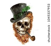 leprechaun skull. watercolor... | Shutterstock . vector #1045337953