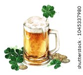 beer mug with lucky shamrock.... | Shutterstock . vector #1045337980