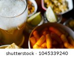 pint of lager beer in a glass ... | Shutterstock . vector #1045339240