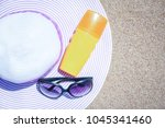 stylish beautiful hat with... | Shutterstock . vector #1045341460
