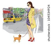 cute girl with little dog on a... | Shutterstock .eps vector #104534924