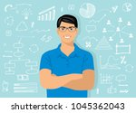 young attractive smiling man... | Shutterstock .eps vector #1045362043