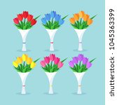 bouquet set of red tulip  roses ... | Shutterstock .eps vector #1045363399