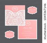 wedding invitation or greeting... | Shutterstock .eps vector #1045367146