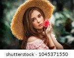 close up portrait of a ... | Shutterstock . vector #1045371550