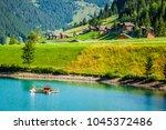 wooden houses in steg  malbun ...   Shutterstock . vector #1045372486