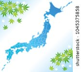 japan map with green maple... | Shutterstock .eps vector #1045375858