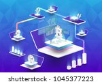 cryptocurrency and blockchain... | Shutterstock .eps vector #1045377223