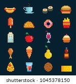 vector pixelart fast food icons ... | Shutterstock .eps vector #1045378150