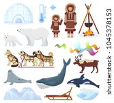 arctic vector northern borealis ...   Shutterstock .eps vector #1045378153