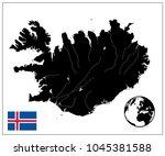 Iceland Map Black Color. No...