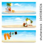tropical island with palms  a... | Shutterstock .eps vector #1045383526