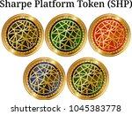 set of physical golden coin... | Shutterstock .eps vector #1045383778