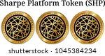 set of physical golden coin... | Shutterstock .eps vector #1045384234
