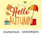 seasonal weather autumn | Shutterstock .eps vector #1045390654
