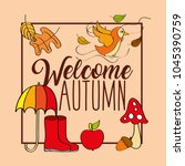 seasonal weather autumn | Shutterstock .eps vector #1045390759