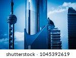 modern financial buildings in... | Shutterstock . vector #1045392619