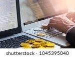 modern way of exchange. bitcoin ... | Shutterstock . vector #1045395040