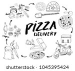 pizza hand drawn sketch set.... | Shutterstock .eps vector #1045395424