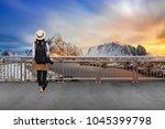 asian female tourists  she... | Shutterstock . vector #1045399798