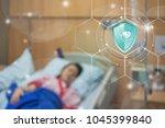 health insurance  button shield ... | Shutterstock . vector #1045399840