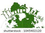 earth eco friendly  green grass ... | Shutterstock .eps vector #1045402120