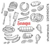 meat and sausages delicatessen... | Shutterstock .eps vector #1045404376