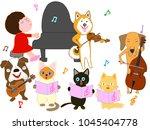 dog and cat concert. children... | Shutterstock .eps vector #1045404778