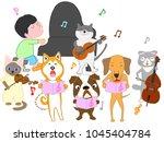 dog and cat concert. children... | Shutterstock .eps vector #1045404784