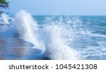 the sea wave crashing on the...   Shutterstock . vector #1045421308