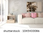 mock up of white minimalist... | Shutterstock . vector #1045433086