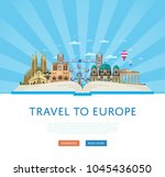 travel to europe poster with... | Shutterstock . vector #1045436050